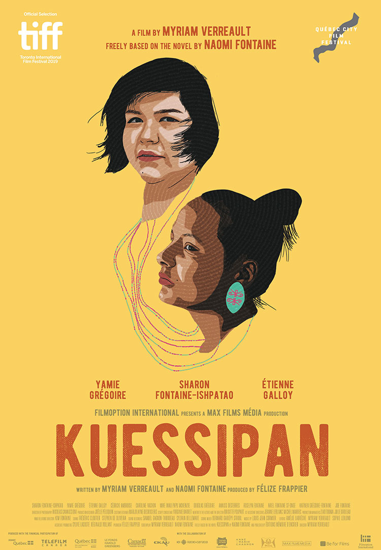 A poster for the film Kuessipan; the faces of two young Innu women are illustrated against a canary-yellow background
