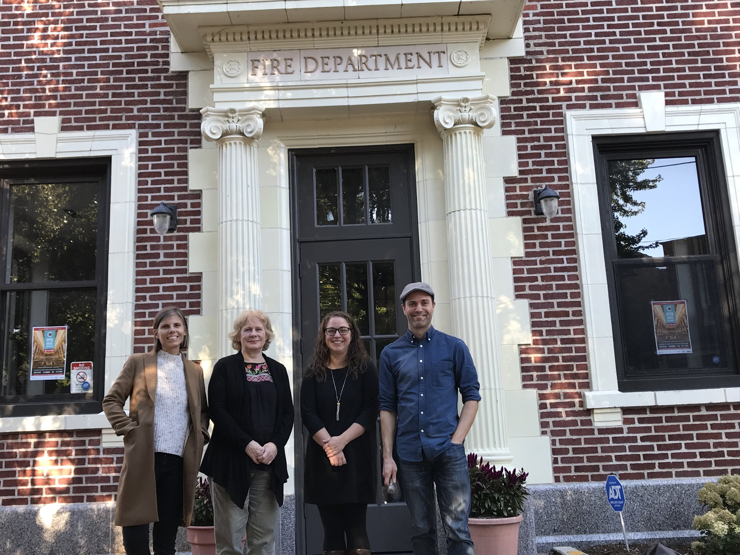Laura Austin, Brenda Webb, Sara Dinges and Andy Miles outside Chicago Filmmakers' new home