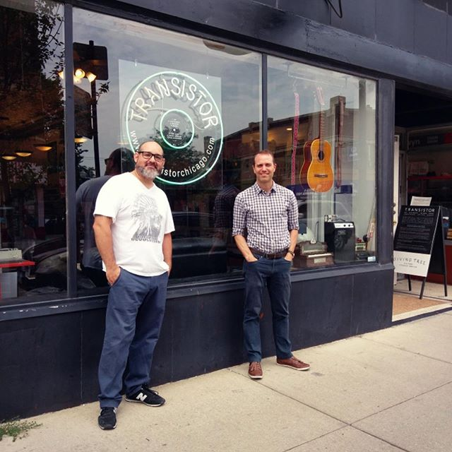 These photos were taken one year ago today, as Transistor introduced new owner Rafael Rivera, pictured left.  Continued success, Rafafel.  #transistorchicago #andersonvillechicago