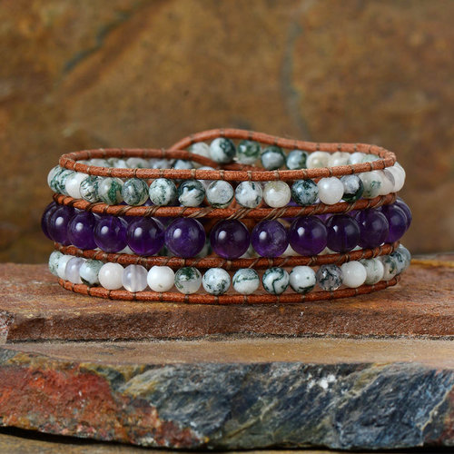 Calm Eye In The Storm Gemstone Wrap Bracelet Peaceful Island