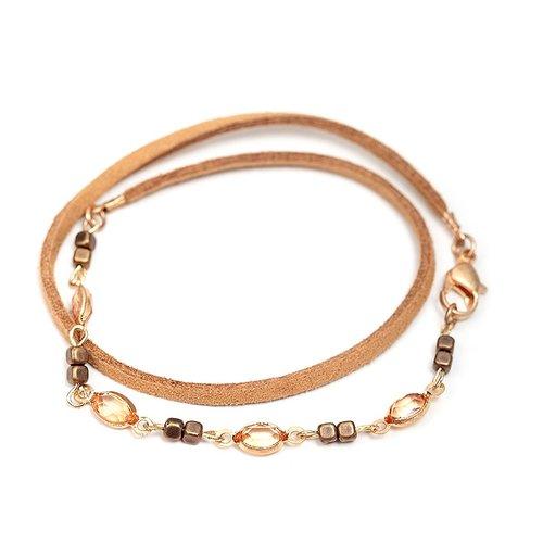Bohemian Sweet Peach Multi Layer Suede Bracelet