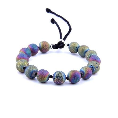 Clic Handmade Men S Bracelet Rainbow Quartz Earth Stone Beads Peaceful Island