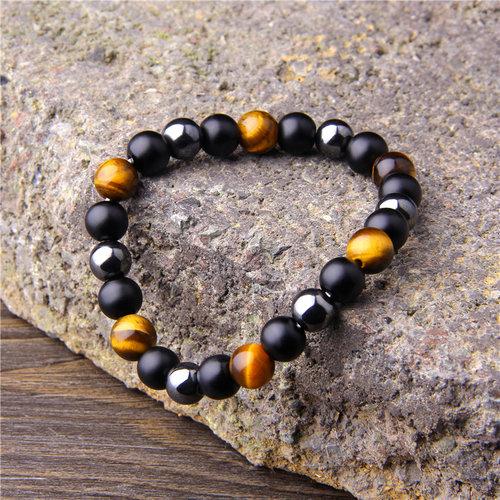 Premium Matte Beaded Bracelet For Men With Black Obsidian Hemae Tiger Eye Beads Peaceful Island