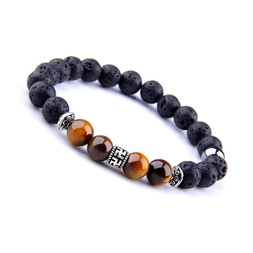 Men S Buddhist Lava Stone Bracelet With