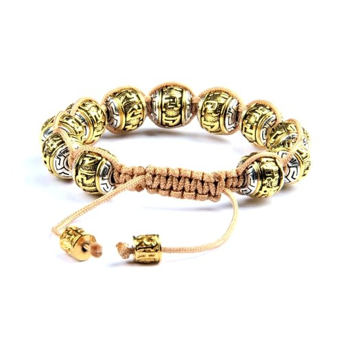 Antique Tibetan Gold Mantra Macrame Bead Bracelet For Men Peaceful Island