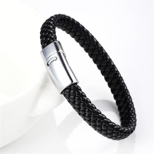 Black Men S Braided Leather Bracelet