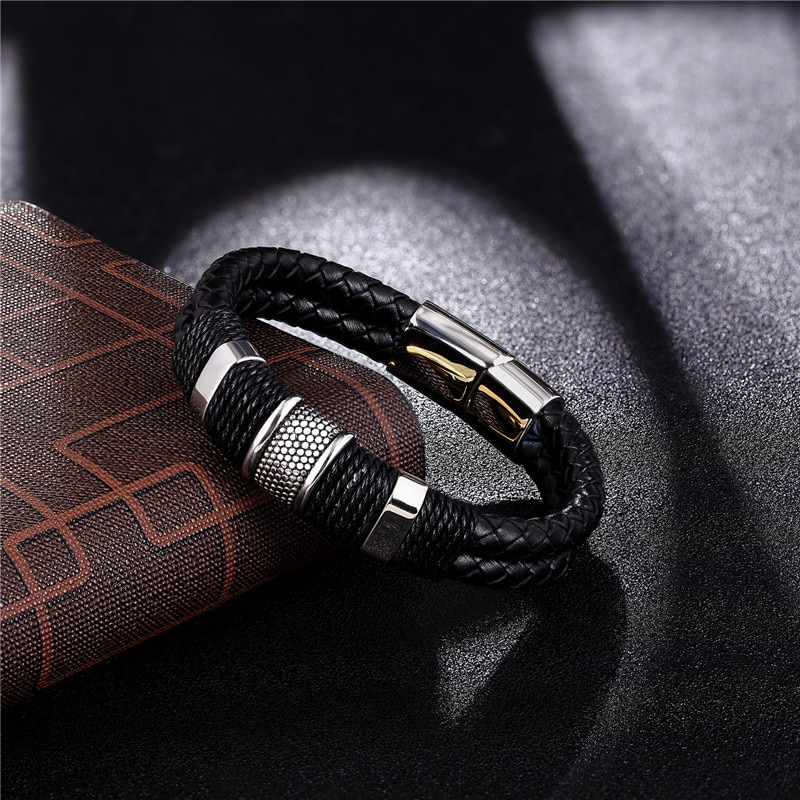 Dark Brown Cuff Bracelet 4 Layers Comfortable Leather Wristband for Men