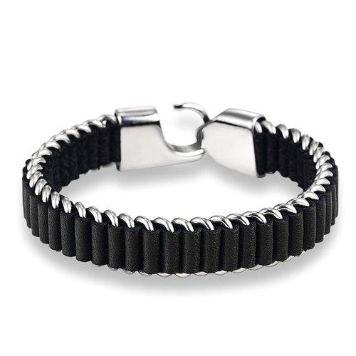 Black Leather Anium Steel Bracelet