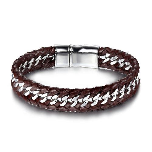 Chain Link Black Leather Bracelet For