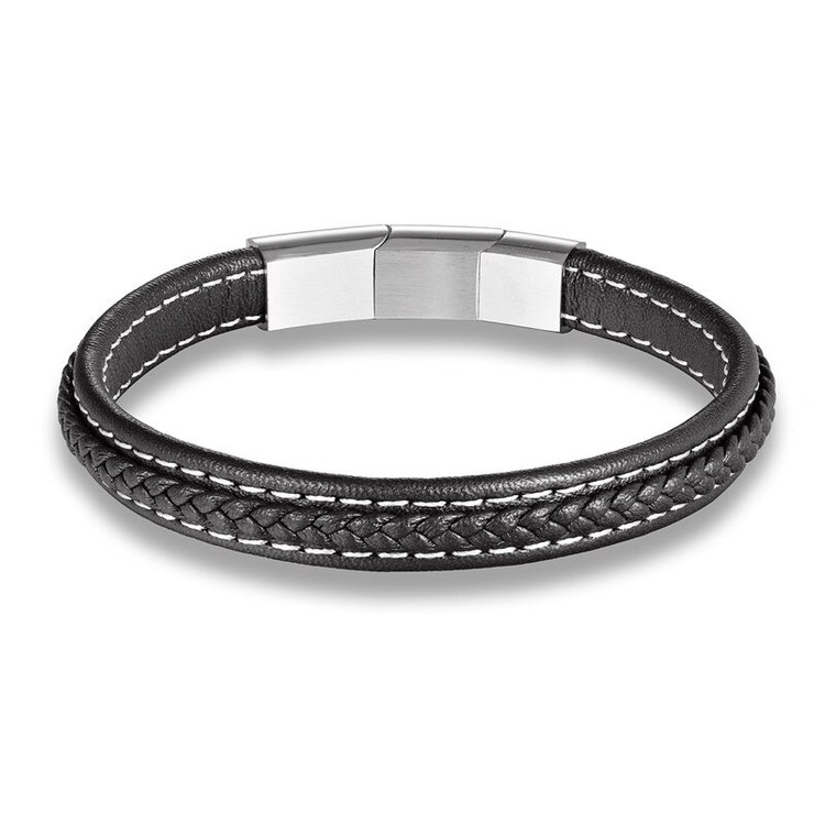 Black-Mens-vintage-leather-bracelet-with-silver-stainless-steel-closure-handmade-mens-braided-leather-bracelets-peaceful-island.jpg