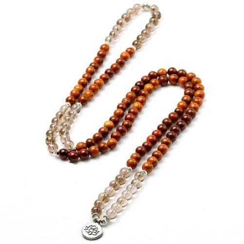 Mala Wrap Bracelet With Smokey Quartz Stones Wood Beads Bead Bracelets Peaceful Island