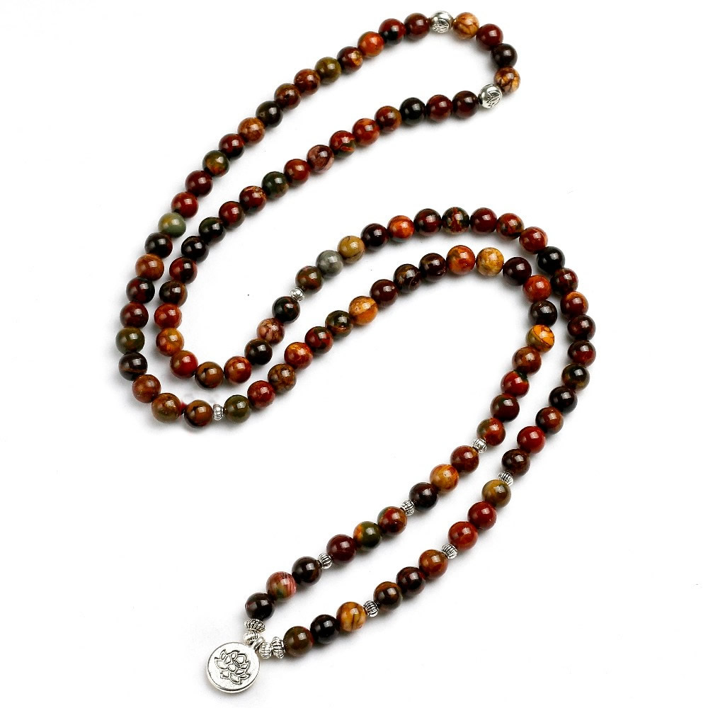 Mala Wrap Bracelet with Jasper Stones Beads - Mala Bead ...