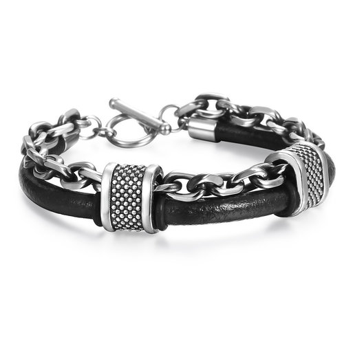 mens-vintage-leather-bracelets-trend-stainless-steel-cable-chain-double-bracelet-for-guys-with-clasp-by-peaceful-island-com-men's-leather-bracelet-with-links-to-buy.jpg