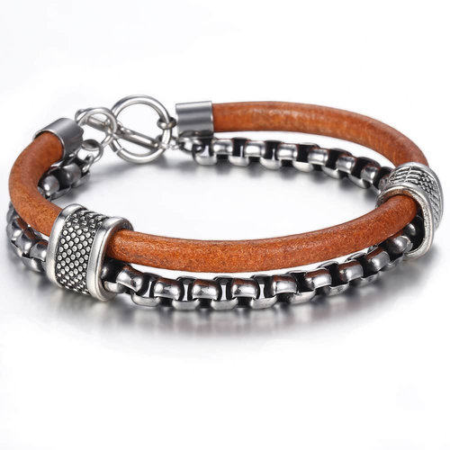 unique-luxury-mens-leather-bracelet-with-silver-chain-metal-charms-bar-toggle-closure-for-sale-online-peaceful-island-com-urban-cool-men's-chain-link-leather-double-bracelet.jpg