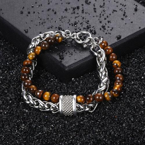 Ultimate Steel & Stone Double Bracelet for Guys