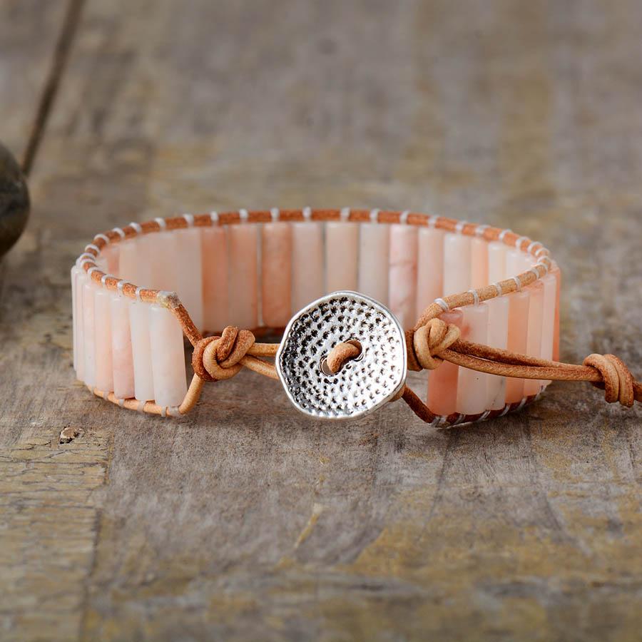 Leather Cuff Rose Quartz Rose Quartz Bracelet Rose Quartz Leather Cuff Bracelet Boho Bracelet Leather Bracelet Rose Quartz Cuff,Quartz