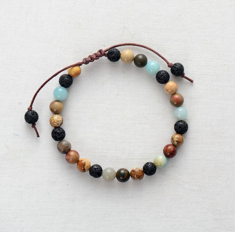 Essential Oils bracelet Diffuser Bracelet Chakras Lava Bracelet lava stone picasso Jasper Diffuser jasper Lava Stone