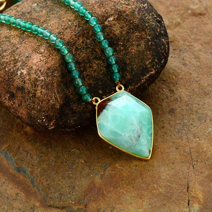 Chrysoprase crystals healing  stone necklace natural gemstone pendant.