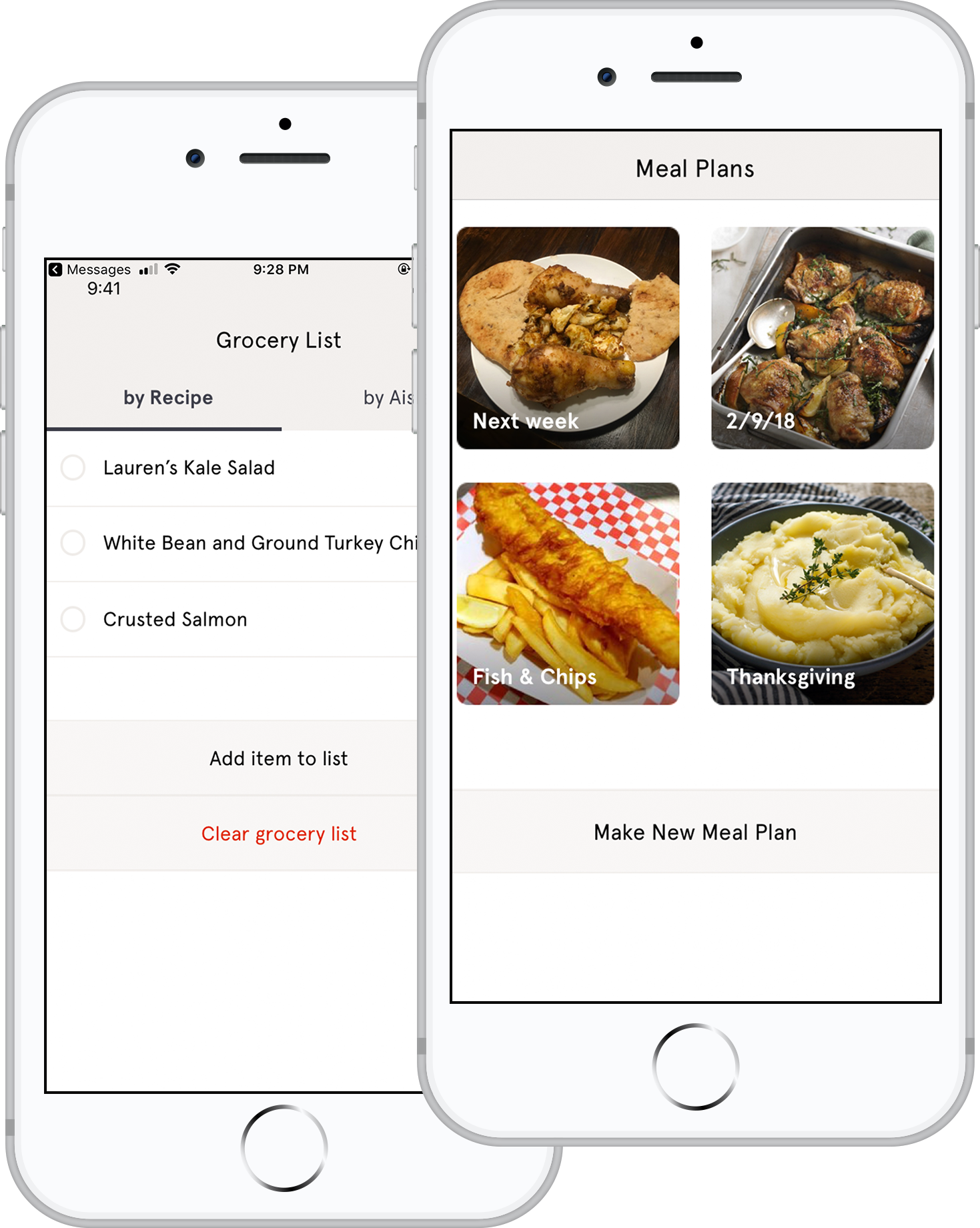 Recipe Box -> Meal Plan -> Grocery List - When you see something that looks interesting, save the whole meal to your recipe box. You can also save individual recipes, if you find them through search.Start with one meal in your meal plan, and then add others. You can delete meals or recipes as you build your plan.