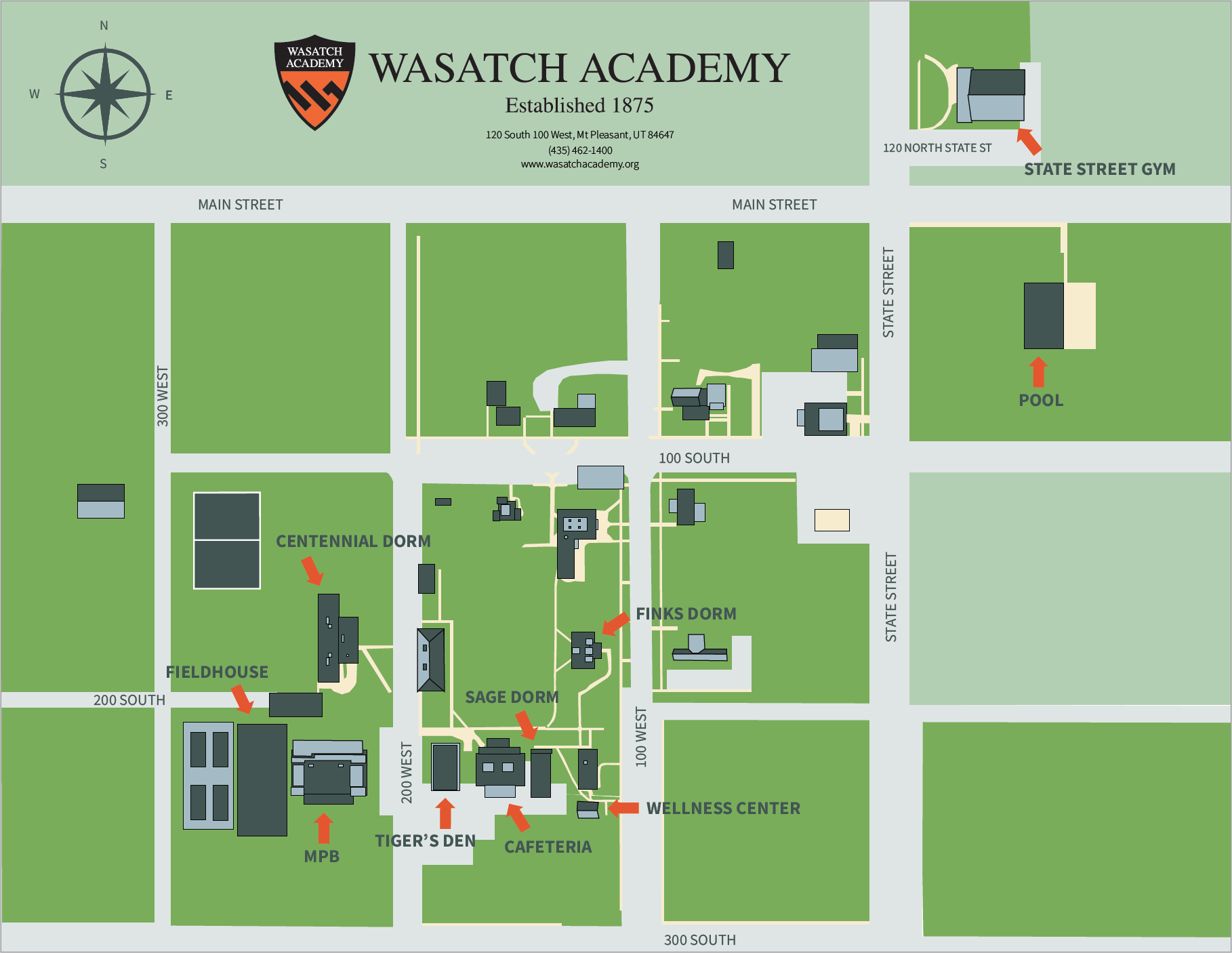 Wasatch Academy Basketball Camp Map