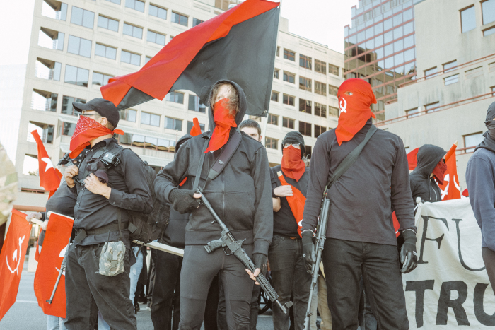 Armed Violent Austin Texas Communists gather with the Democrat party for a rally.