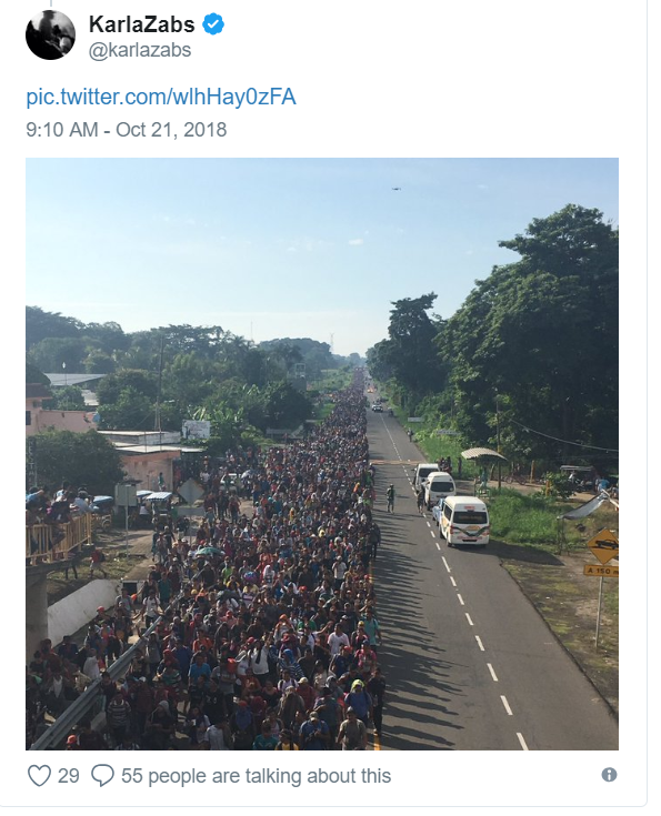 Karla Zabs shows the enlarged migrant caravan traveling to the United States.