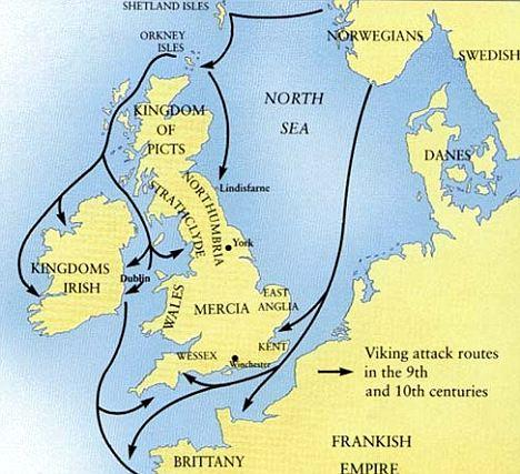 Travels of the vikings. Source:   Dailymail.