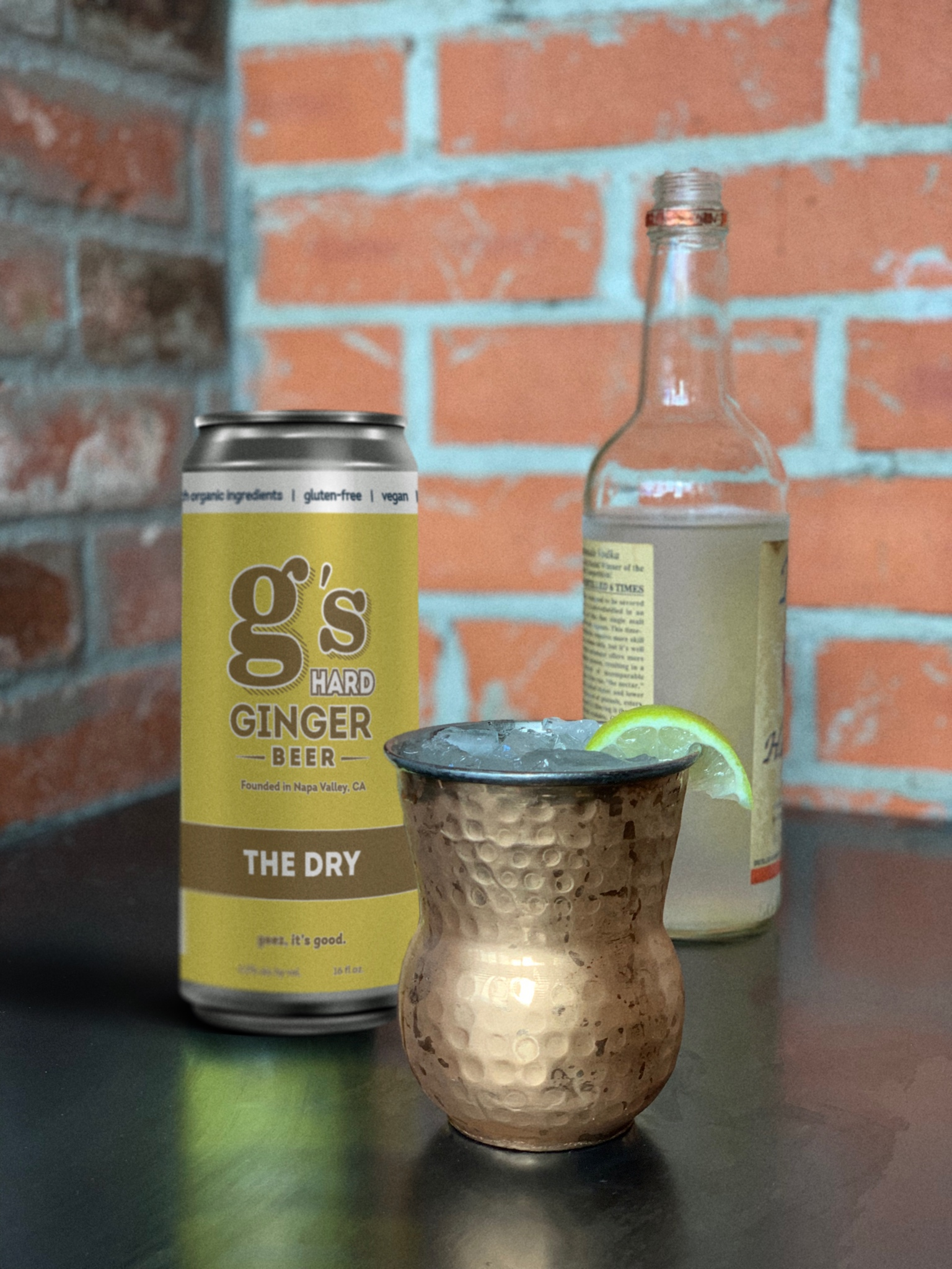 G's Moscow Mule - 1 & 1/2 oz Vodka4 oz G's THE DRY hard ginger beer1/2 oz Lime Juice1 oz Agave or Simple SyrupWedge of Lime and a Sprig of MintHOW TO: With crushed ice in your mule mug or mason jar, add Vodka, G's THE DRY hard ginger beer, lime juice, and agave or simple syrup - stir and enjoy!Simple, sessionable, super tasty._________________________________G's THE DRY hard ginger beer is brewed with fresh organic ginger root and a complimenting profile of Meyer Lemon. It's fermented till dry, so no residual and no added sugar. Yes, 0 grams! (and none of that fake sweetener stuff either.) The perfect mixer for Kentucky, Gin, Moscow Mule's or your go-to cocktail recipe.