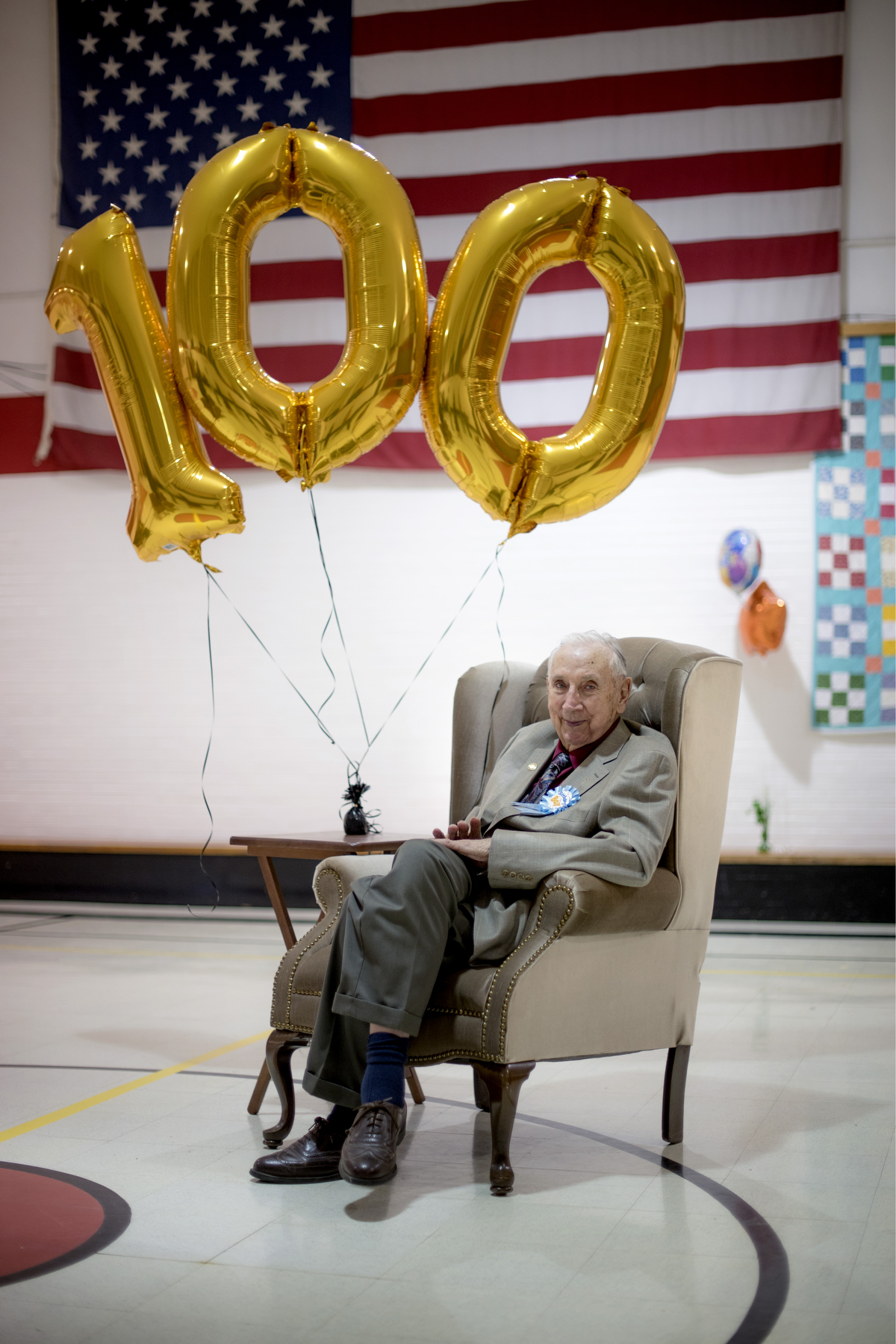 Fred Colburn at his 100th birthday party at the Shade Community Center in Shade, Ohio on April 22, 2017. The gymnasium he sits in was named after him.