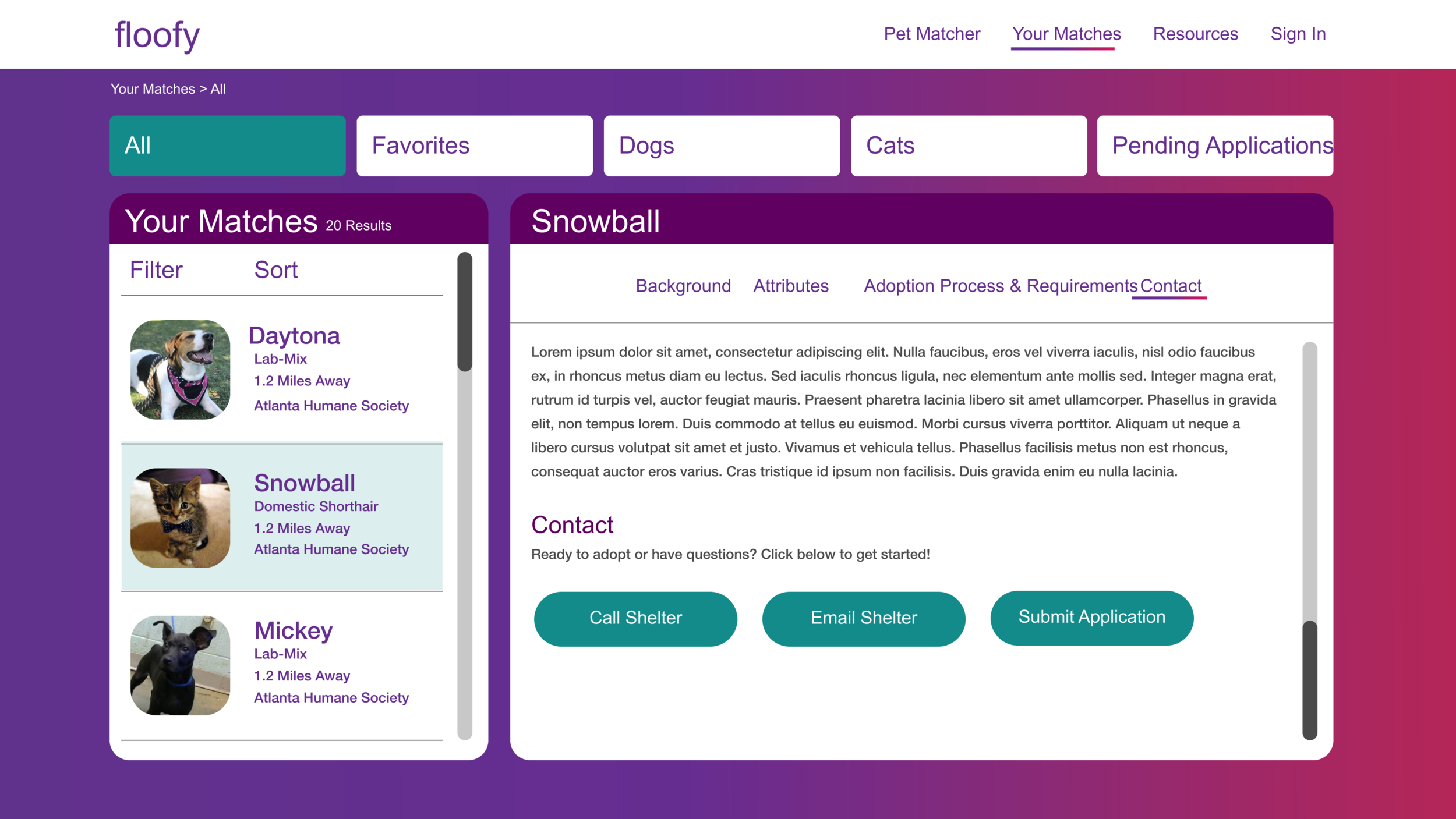 Pet Description - On the right of the Pet Matches Dashboard, users can see individual an individual pet's background, physical and health attributes, and contact information for the shelter.