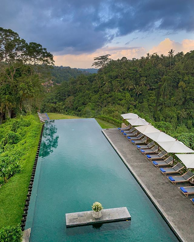 I got it!  After being told I couldn't fly my drone over the infinity pool, I figured my opportunity was lost. I realized the next day that there's a perfect picture spot from the 2nd floor restaurant. I'll admit, sometimes I over complicate things. #alilaubud #infinitypool #jungle #ubudbali