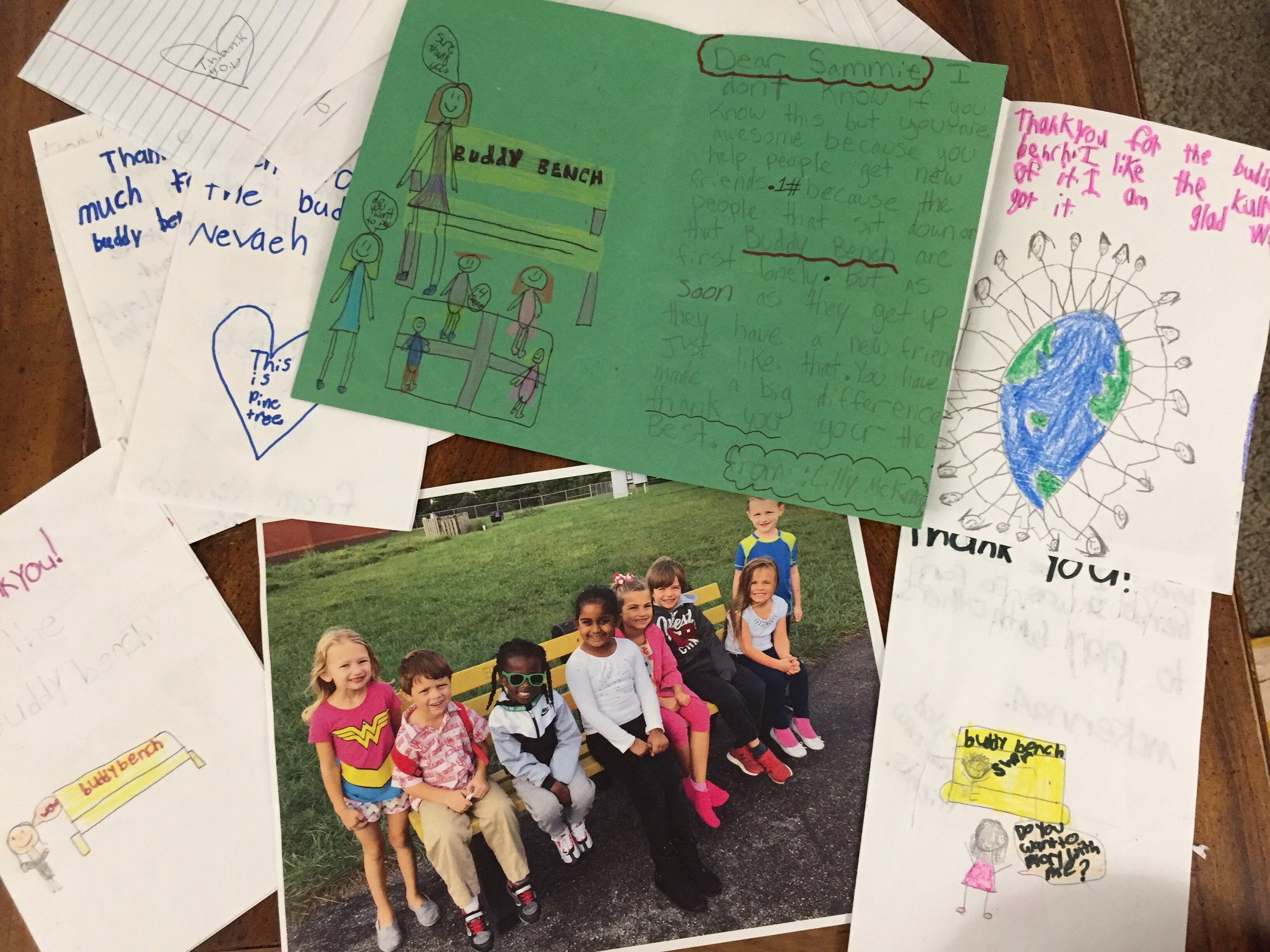 These are some of my letters from some of the 75 schools I was able to give buddy benches to in September! I love that the Buddy Benches are working!