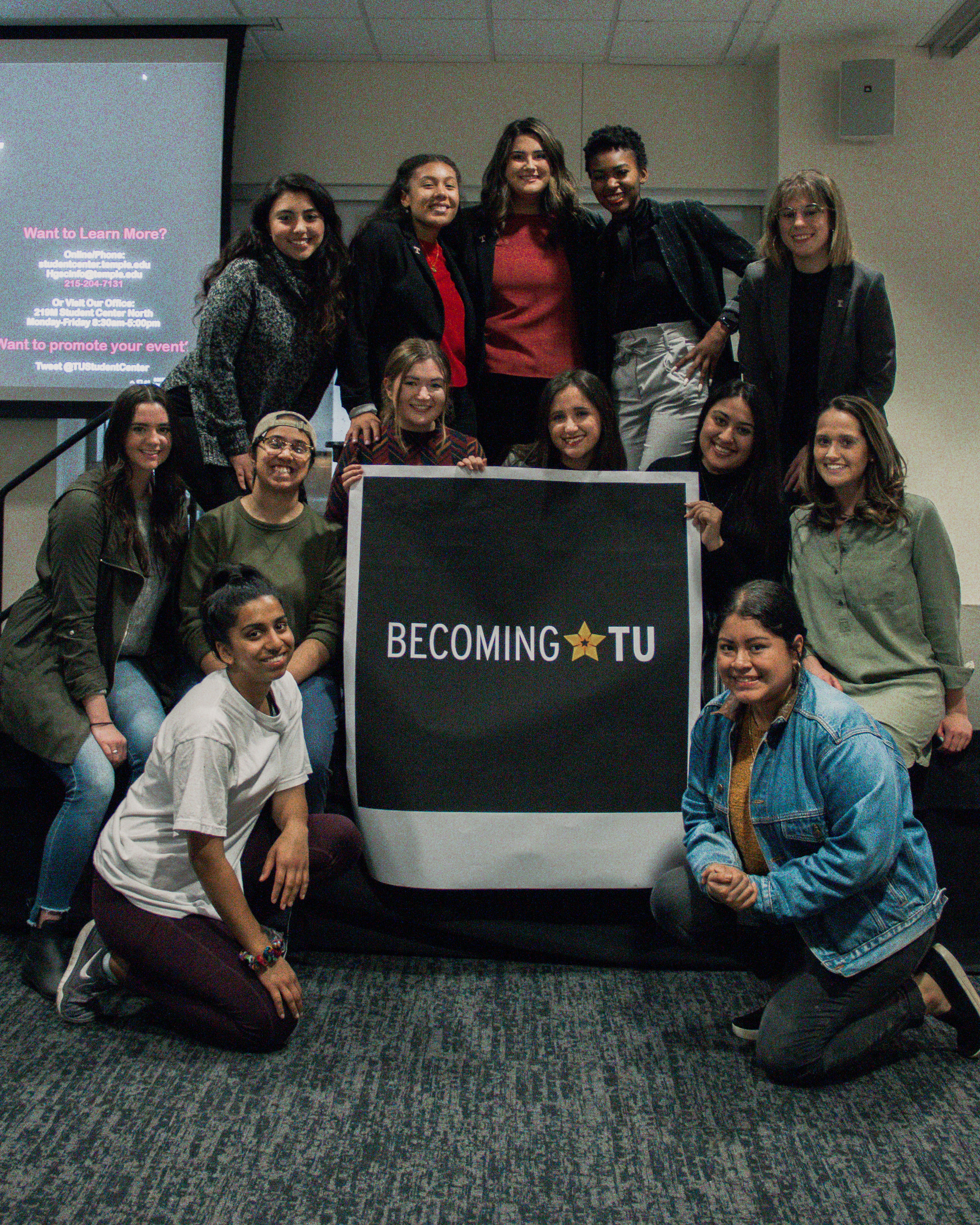Some of the members of BecomingTU's campaign team after the first debate last week. | PHOTO: Madison Leake