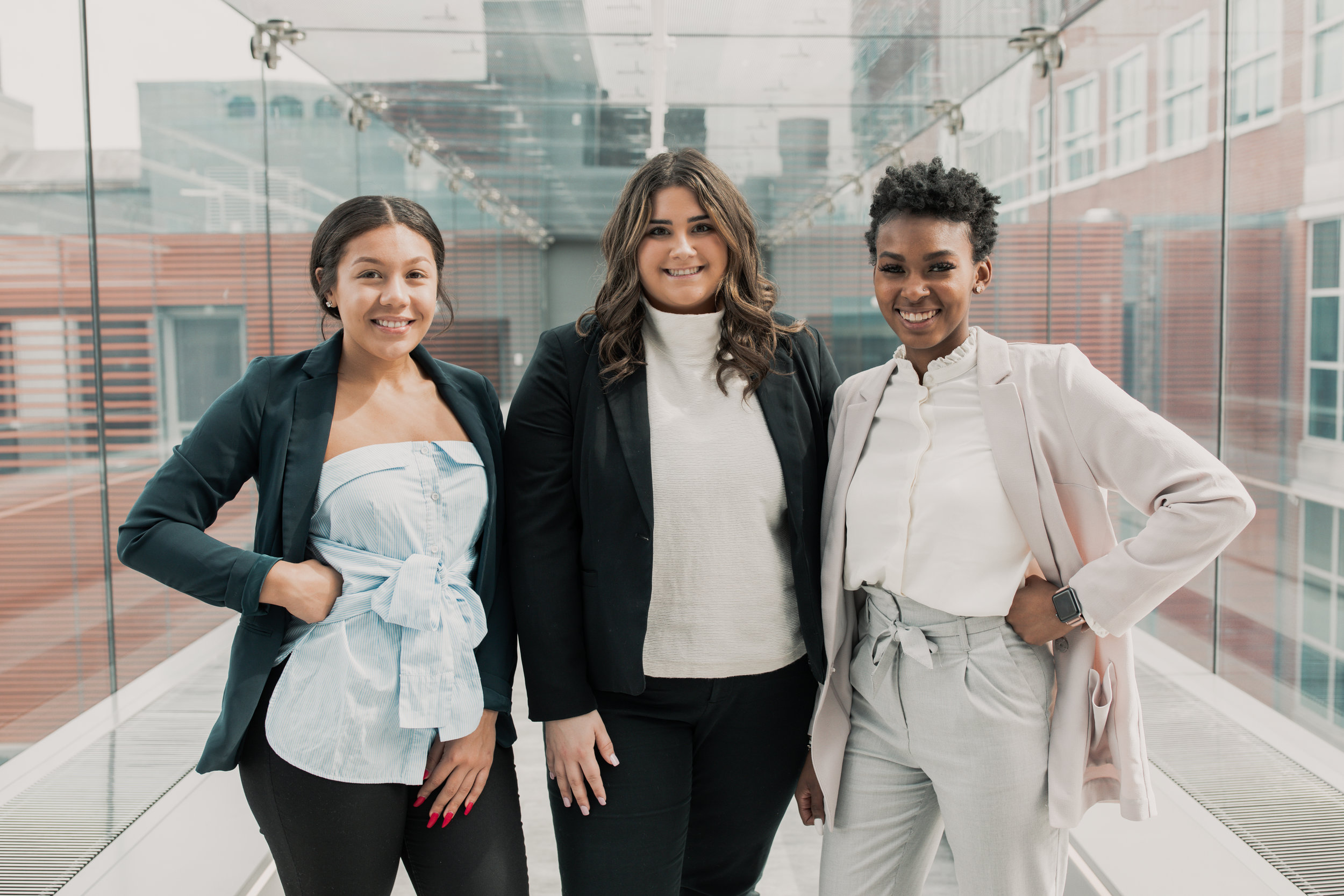 From left to right: Kaya Jones, Vice President of External Affairs candidate; Francesca Capozzi, Presidential candidate; Laryssa Banks, Vice President of Services candidate. | PHOTO: Saba Ahmed