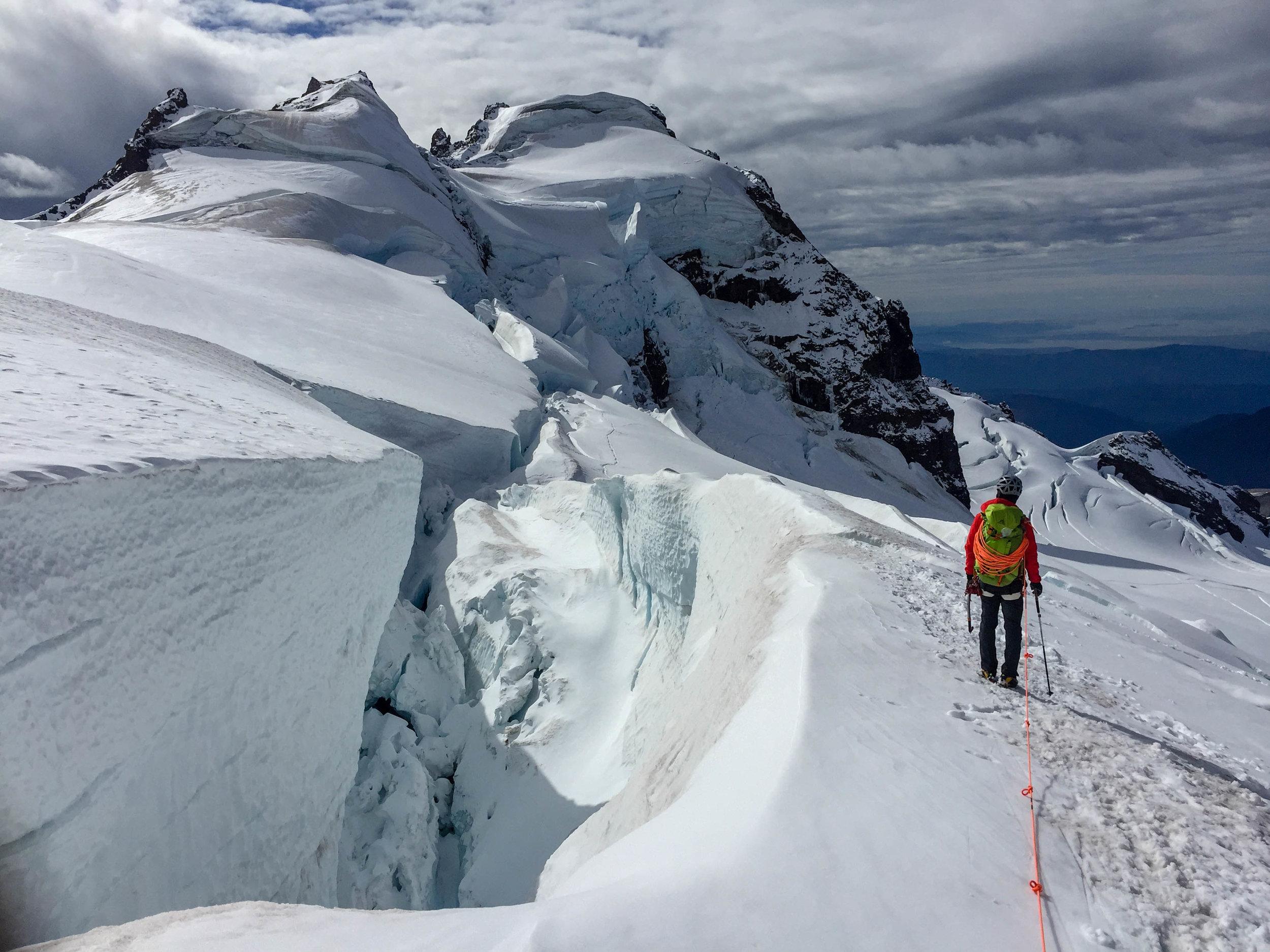 Descending from the North Ridge of Mount Baker. Photo credit: Mountain Bureau, LLC.