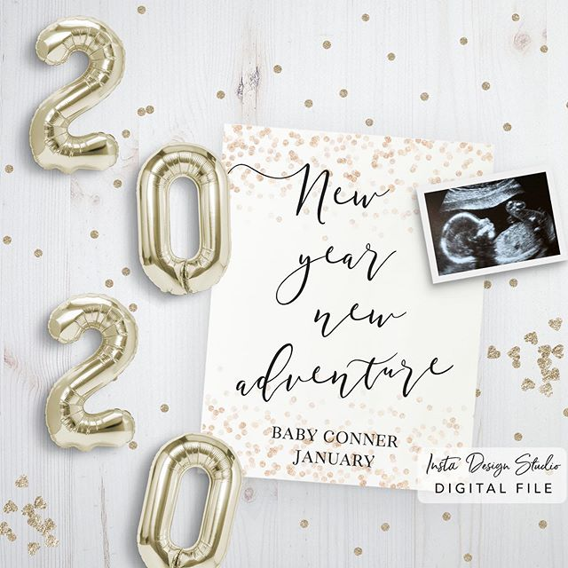 Is 2020 bringing you a new little adventure? Shop this New Year themed social media pregnancy announcement on our Etsy shop or instadesignstudio.com ⭐️ we customize for you, perfect for sharing or printing. links in bio #pregnancyannouncement