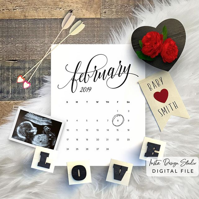 Expecting something sweet this February? Announce to your friends and family via social media with our digital social media announcements. Shop the entire collection on Etsy or Instadesignstudio.com ❤️ customized with your due date and photo #pregnancyannouncement