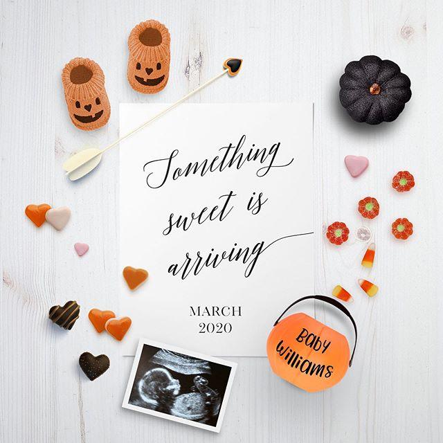 Ready to announce your sweet surprise? We have the cutest social media Halloween and Fall pregnancy announcements ready to go, and we customize for you! Digital files you can post or print. Shop our selection on Etsy and instadesignstudio.com links in bio 🎃 #pregnancyannouncement