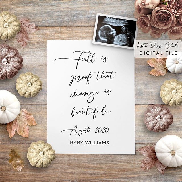 We have the perfect pregnancy announcement for you to share your news with friends and family.  Print or share!  Customized for you by us.  Shop our collection of digital social media announcements on instadesignstudio.com or on Etsy.  Links in bio. 🍂 #pregnancyannouncement