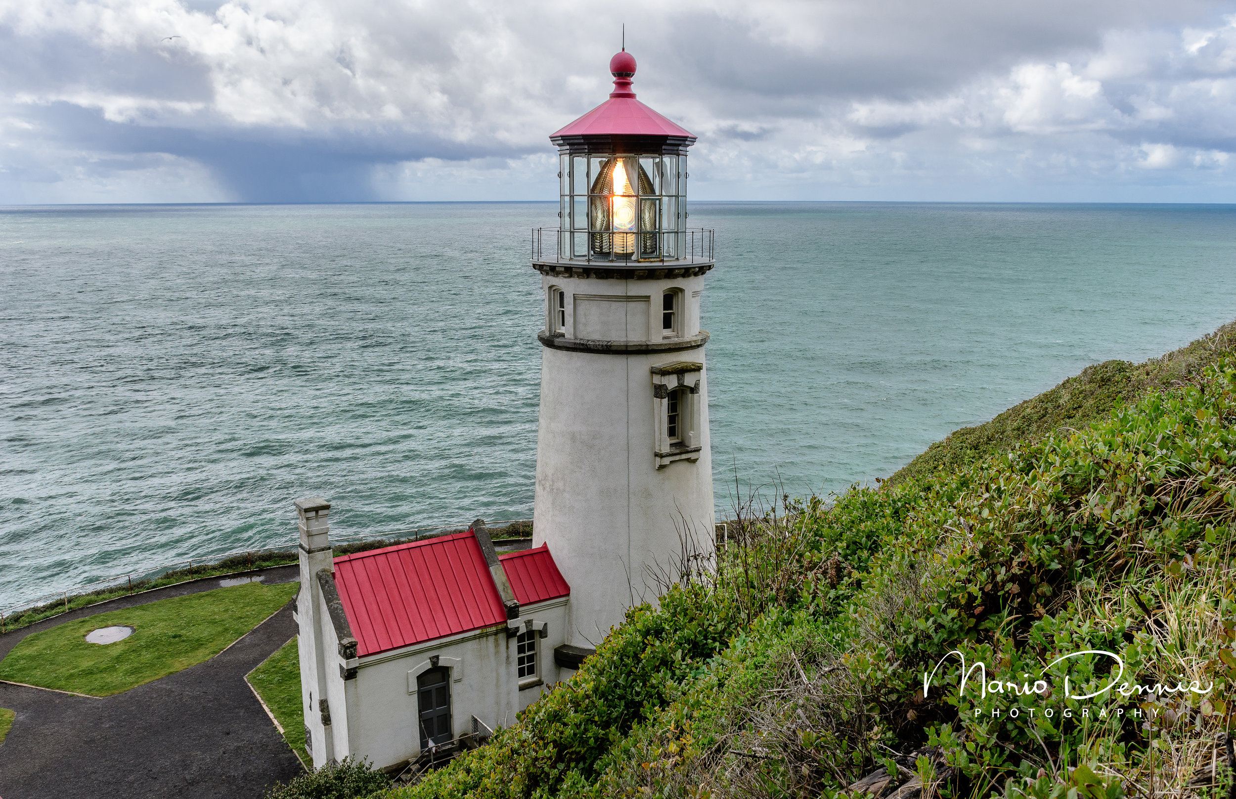 Heceta Head Light with approaching squall.