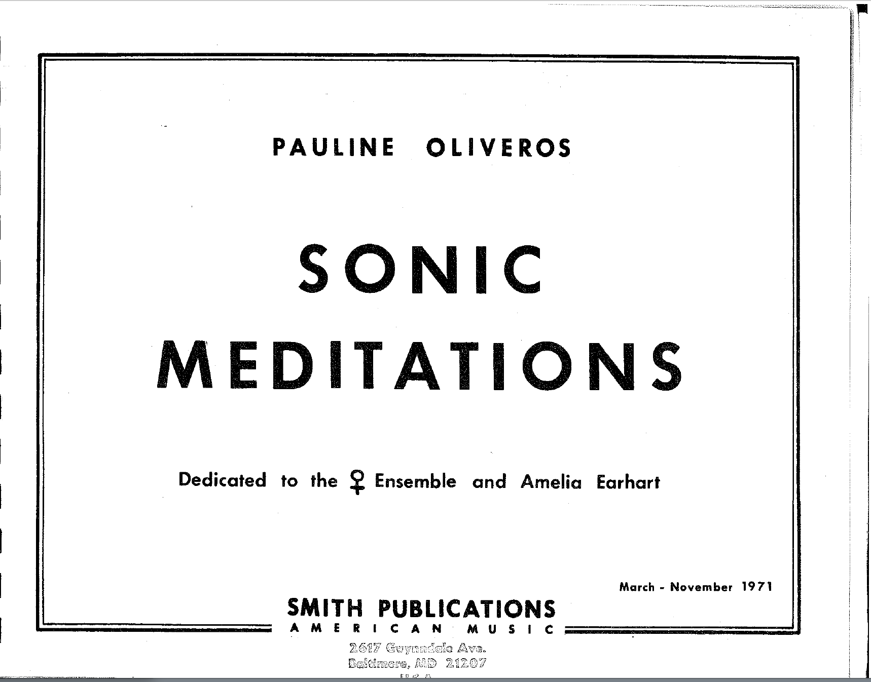 Sonic Meditations from the doyenne of Deep Listening, Pauline Oliveros.