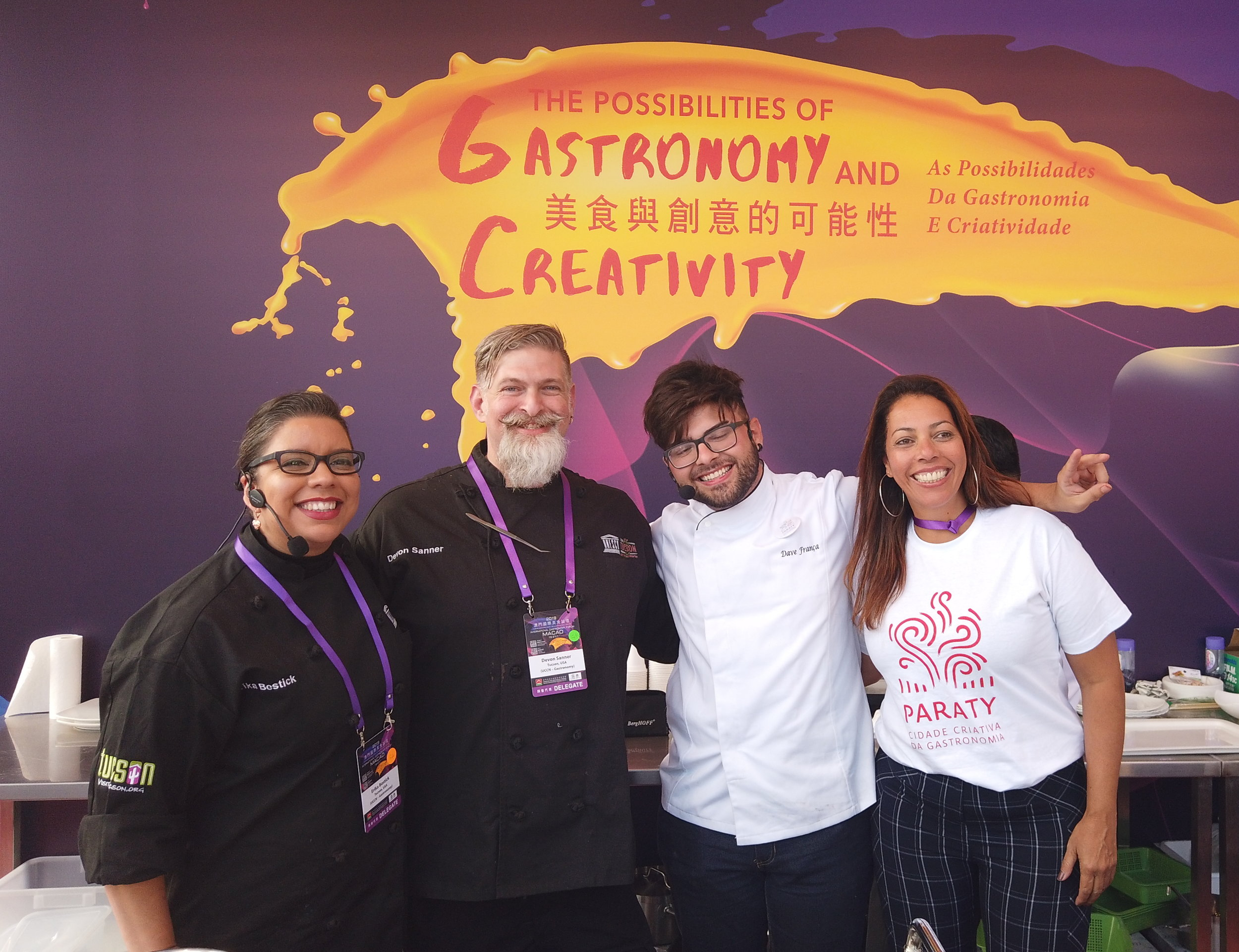 Chef Erika Bostik and Chef Devon Sanner with the Paraty, Brazil Delegation in Macau, China