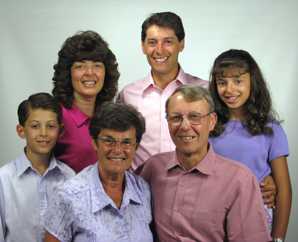 The full Rayne family in  2008 , Jack & Joy (Paul's parents) with  Hannah 11 and Caleb 9