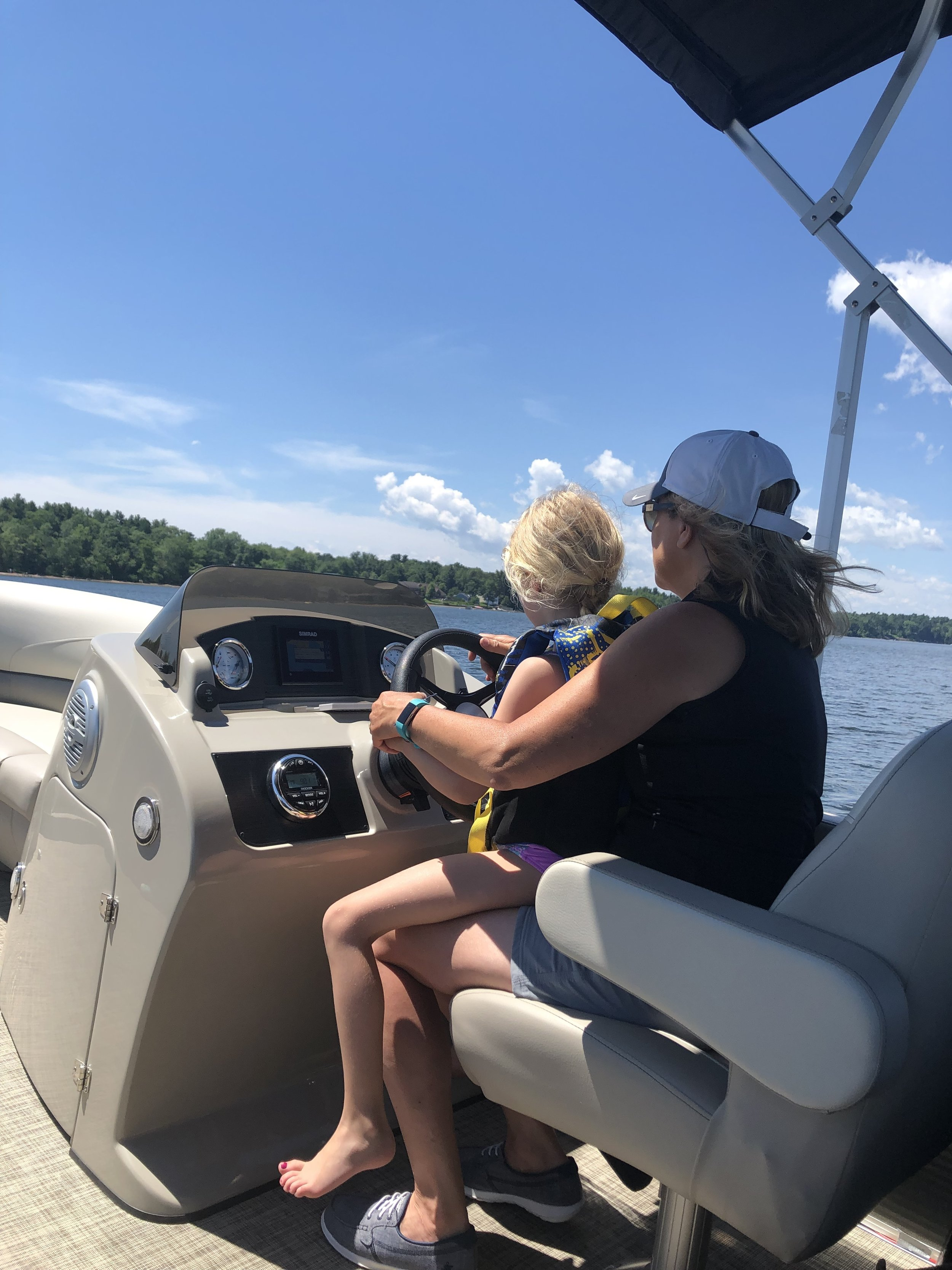 Learning to drive a Pontoon boat.