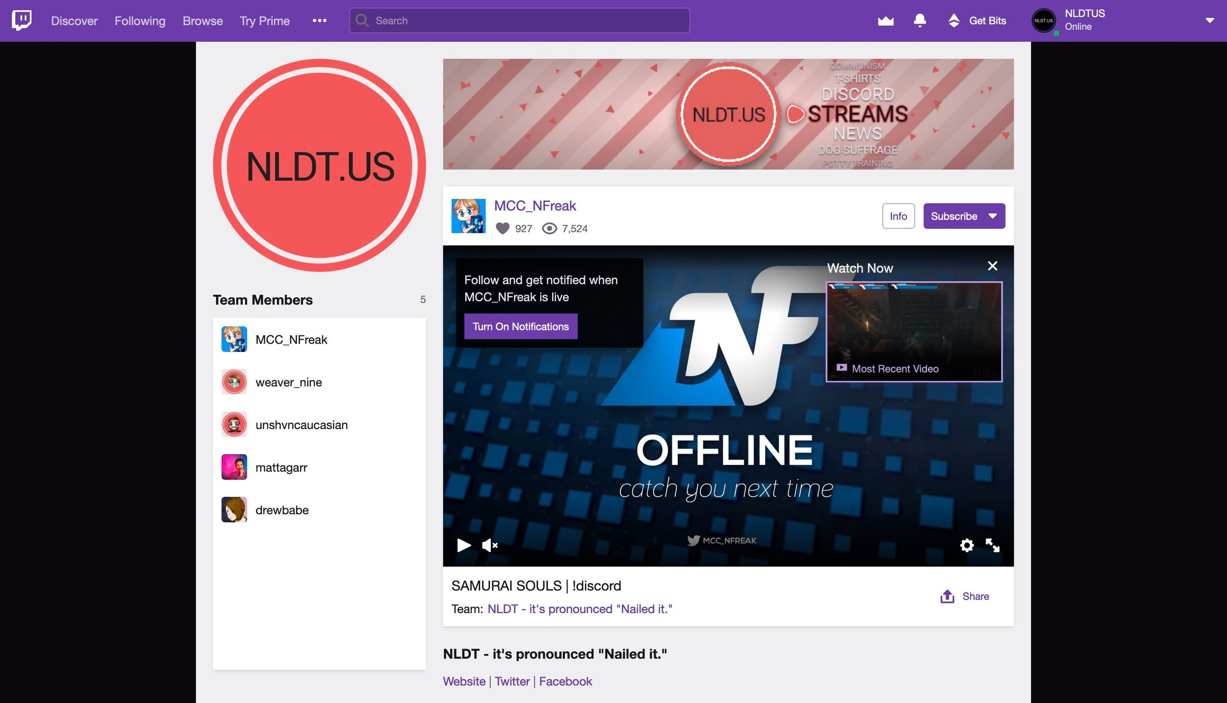 Check out the NLDT twitch team page!