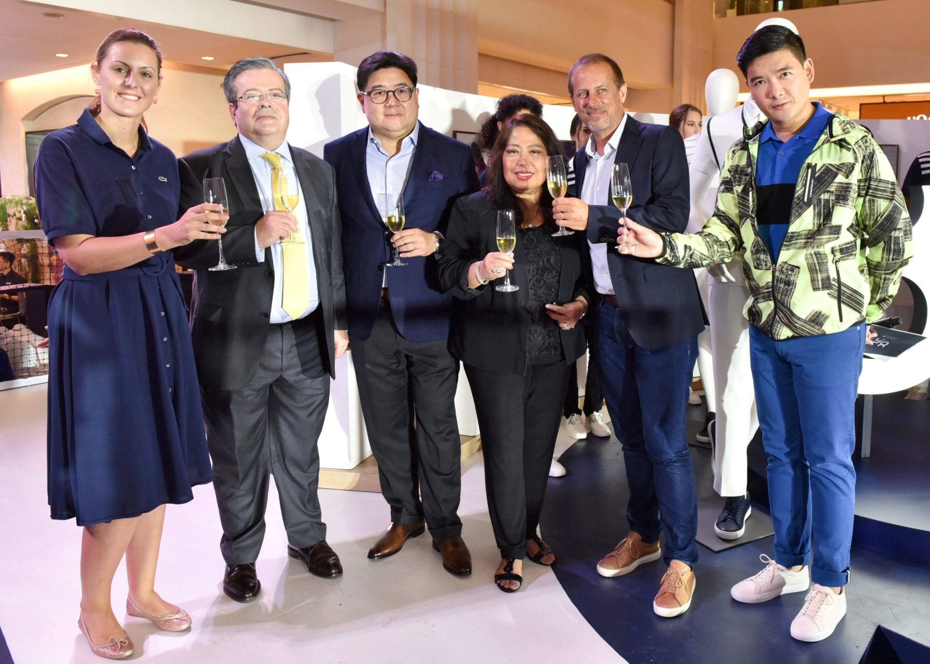 Lacoste Marketing Director Jessy Baretta, Ambassador of France H.E. Nicolas Galey, SSI Group, Inc. President Anton Huang, SSI Group, Inc. Executive Vice President Elizabeth Quiambao, Lacoste Chief Finance Officer Sebastien Fayet, and event host Tim Yap