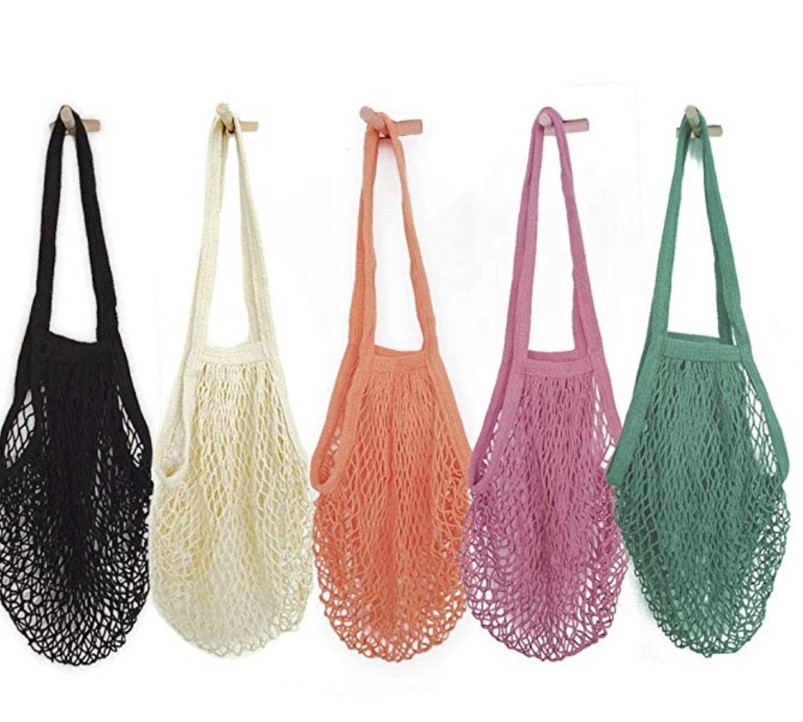 COLOURFUL MESH SHOPPING BAGS -