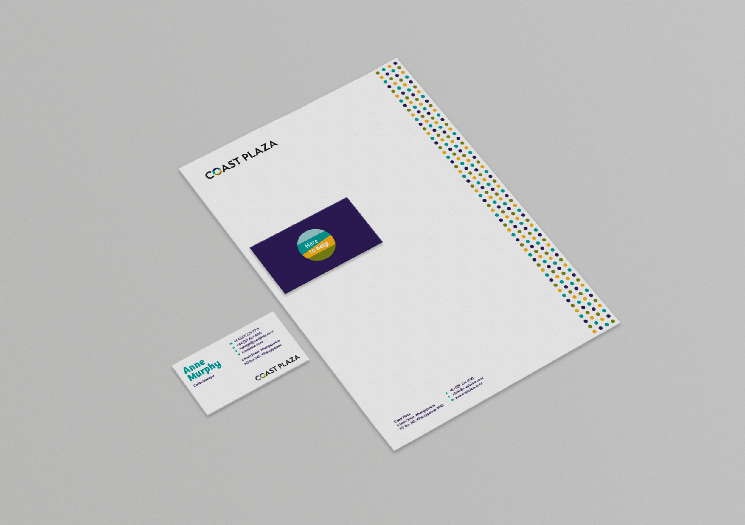 Coast Plaza business card and letterhead