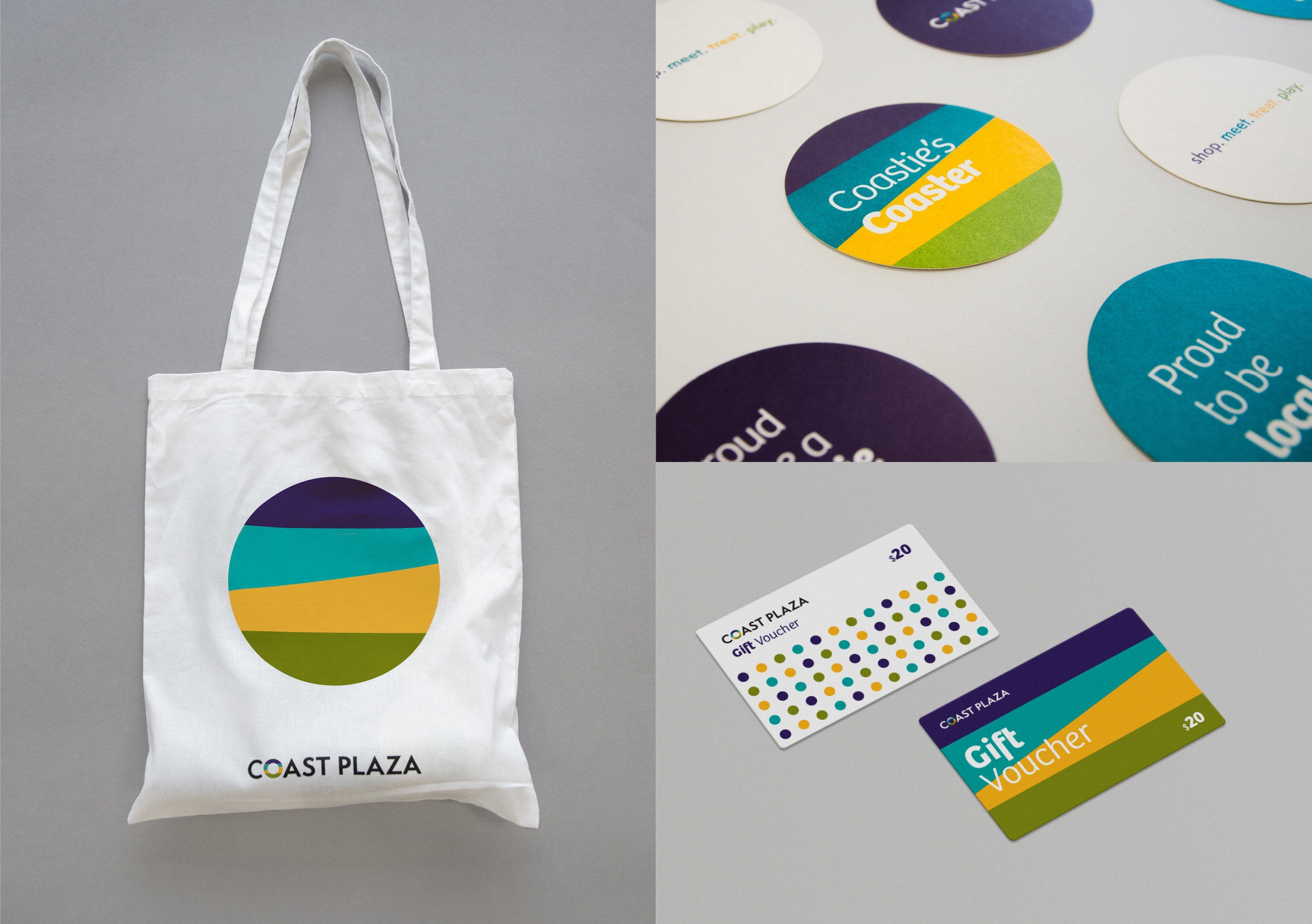 Coast Plaza tote bag, coasters and gift cards