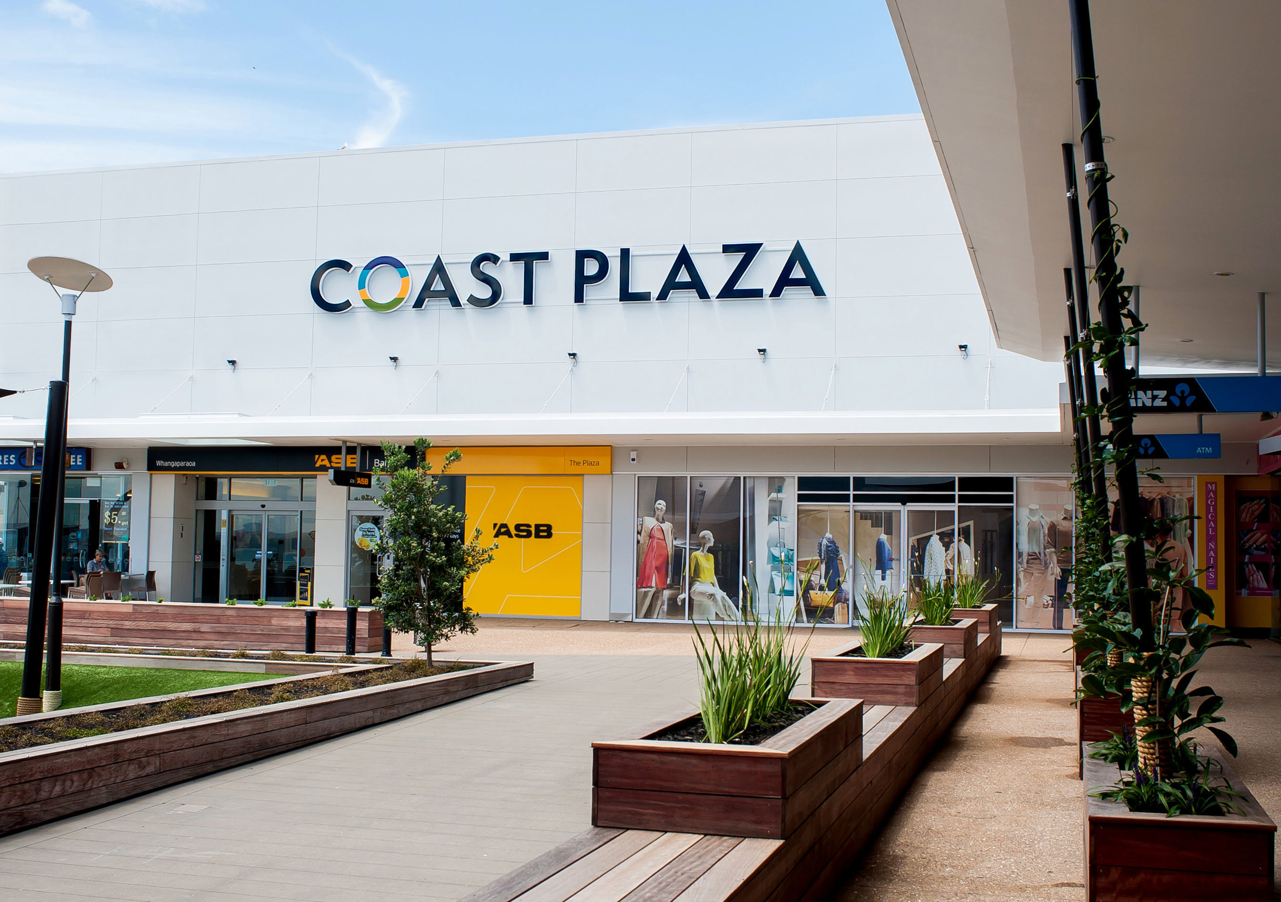 Coast Plaza courtyard signage